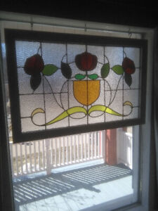 """Beautiful """"Roses"""" Antique Stained Glass Window"""