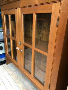Pine hutch.  Handmade.  Old antique glass.