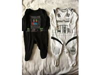 2 Star Wars sleep suits worn once 0-3 months