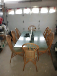 Dining Room Table Rattan Chairs 13 Accessories Salt Napkin Etc