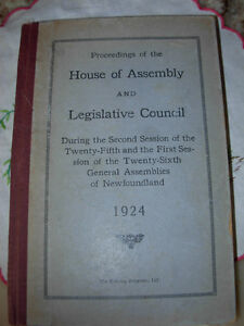 1924 Proceedings of House of Assembly St. John's Newfoundland image 1