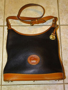 Dooney & Bourke Auth Shoulder Bag Purse Black & Tan Leather