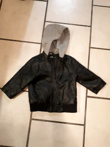 TODDLERS LEATHER LIKE JACKET WITH HOODIE