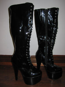 """Jante - 6"""" Knee High Stripper Platform Boots - $80"""