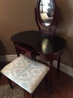 Black and Cherry Wood Vanity with Mirror and Seat