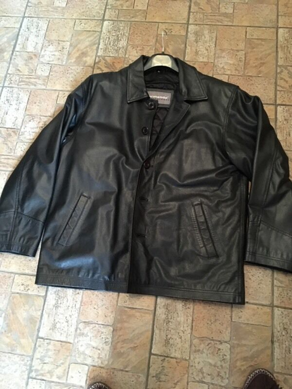 Black Leather Jacket XLin Lowton, CheshireGumtree - Mens black leather jacket XLVery good condition, button fasteningPadded lining.Reasonable Offers considered