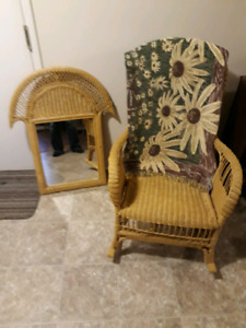 Wicker Rocking Chair and Mirror