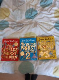 David Walliams world worst children(books one 1 to 3)