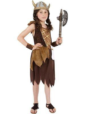Mädchen Wikinger Kostüm (WIKINGER MÄDCHENKOSTÜM, MÄDCHEN FASCHINGSKOSTÜM, GROß ALTER 10-12, MÄDCHEN)