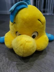 "Flounder Original Disney Store Little Mermaid 12"" Plush Soft Toy"