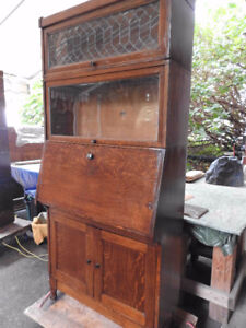 antique barrister bookcase c/w lead door,desk and cupboard