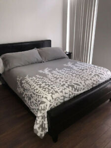 Queen Bed - with Leather Head & Foot board - Gorgeous!