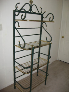 "Green and brass bakers rack only $100 measures 15"" by 28"" by 68"""
