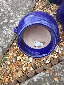 Blue ceramic garden flower pot