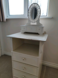 Chest of drawers with mini drawers and mirror topper