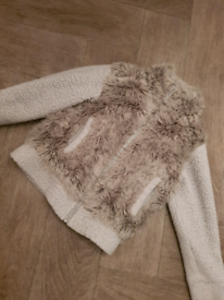 GIRLS NEXT 5-6 YEARS LINED FUR TEDDY WARM cardigan coat