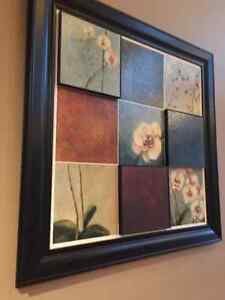 Black Framed tiled orchid flowers art 4' square Windsor Region Ontario image 4