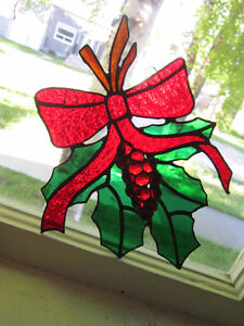 Bright Stained Glass - Window Hanger in Shape of HOLLY