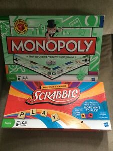 Board games, barely used. Monopoly still sealed.
