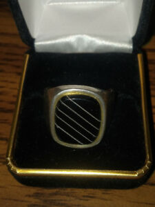Silver 925 men's  black onyx ring size 17