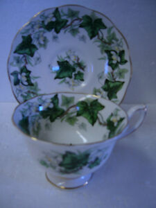 VINTAGE IVY LEA FOOTED CUP 'N SAUCER BY ROYAL ALBERT