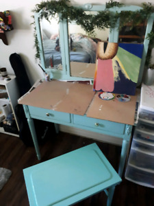 Vanity desk, mirror and stool
