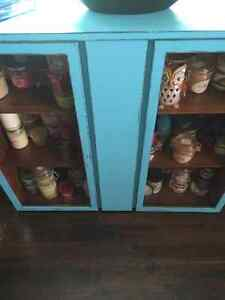 Display cupboard, painted a cool blue and distressed.... London Ontario image 5