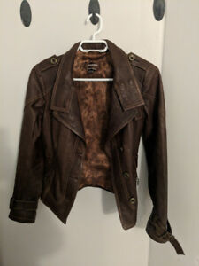 Danier Brown Leather Jacket Women's XS