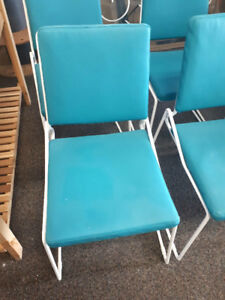 White Metal Chairs with Blue/Teal Cushions, Indoor or Outdoor
