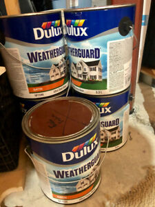 5 gallons of EXTERIOR BROWN paint (new)