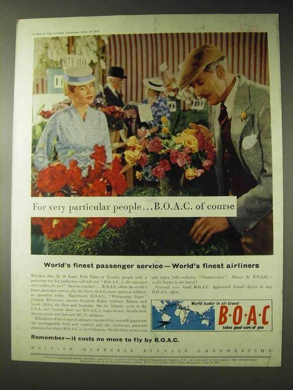 1957 BOAC Airways Ad - For Very Particular People