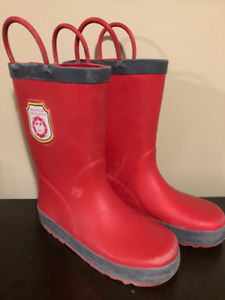 Volunteer Firefighter Red Rubber Boots - Kids Size 12