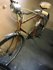 Vintage 1960's Gold 3 Speed Bicycle