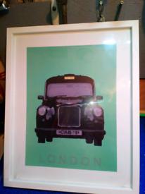 Framed London blackcab picture