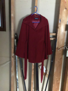 Ladies red wool cape size M