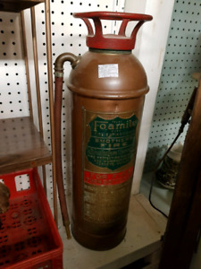 Vintage Copper Brass fire extinguisher nice shape and nameplate