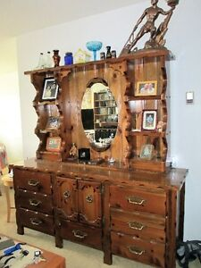 Rustic Vintage 5pc Solid Wood Cabinet Set with Hutch & Sideboard