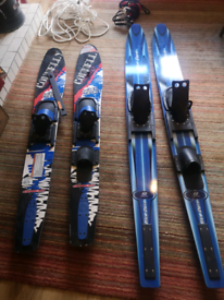 Water skis, Two pairs, Adult & Junior.