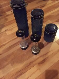 3-piece Cannister Set & Large Salt Shaker & Pepper Grinder