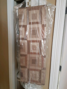 Fabric shower curtain,  plastic liner,  and clips