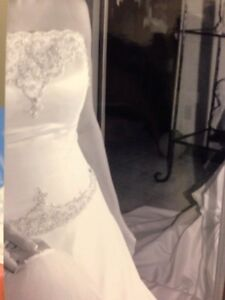 White Alfred Sung Wedding Dress, Tiara & Veil - Can deliver
