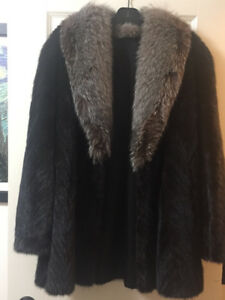 Mink and silver fox fur coat.  Hardly worn. Like new.  $625.