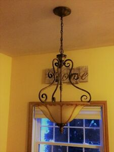 Bronze Hampton Bay Hanging Light & 2 matching flush mount lights