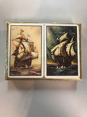 2 Decks Of Playing Cards With Ships PIATNIK