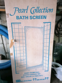 Shower screen to fit on bath, 1360mm high, 645mm wide