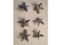 Set of 6 star shaped door knobs handles for cabinets or drawers