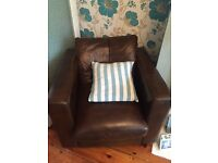 Leather 2 seater sofa + 2 X armchairs matching.