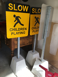 Street Signs with concrete bases