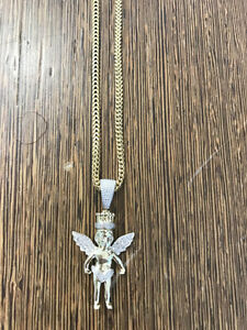 10k Yellow Gold And Diamond Angel Pendant Set With franco chain