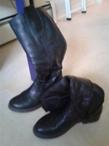 Black genuine leather knee-high boots - great condition